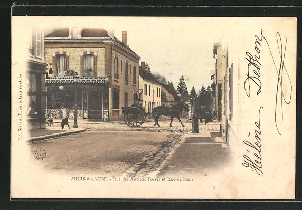 AK Arcis-sur-Aube, Rue des Anciens Fossés et Rue de Paris 0