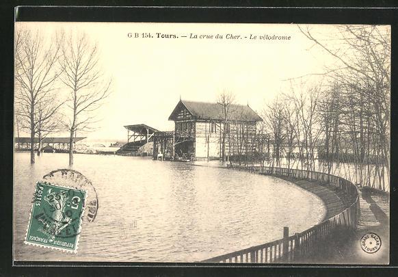 AK Tours, La crue du Cher, le vélodrome, Velodrom bei Hochwasser 0