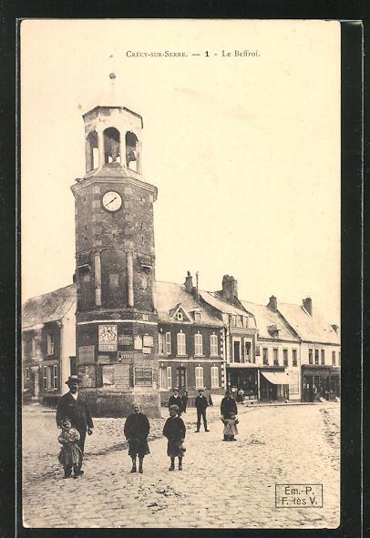 AK Crécy-sur-Serre, Le Beffroi, Glockenturm 0