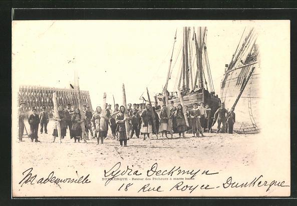 AK Dunkerque, Retour des Pecheurs à marée basse 0