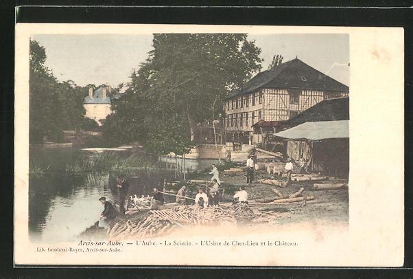 AK Arcis-sur-Aube, L'Usine de Cher-Lieu et le Chateau