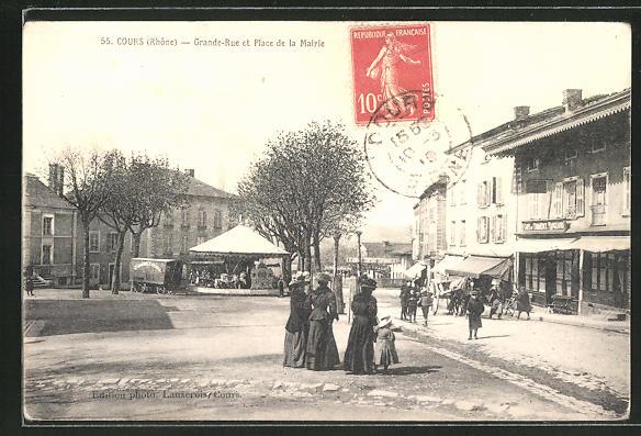 AK Cours, Grande-Rue et Place de la Mairie