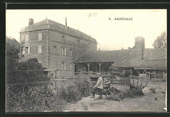 AK Auzéville, Ortspartie mit Haus, Weiher und Angler