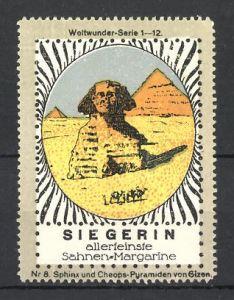Reklamemarke Siegerin, allerfeinste Sahnen-Margarine, Weltwunder-Serie: Sphinx und Cheops-Pyramiden von Gizeh