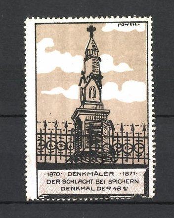 Künstler-Reklamemarke Erich Powell, Reichseinigungskriege 1870 / 1871, Schlacht bei Spichern, Denkmal der 48er