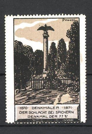 Künstler-Reklamemarke Erich Powell, Reichseinigungskriege 1870 / 1871, Schlacht bei Spichern, Denkmal der 77er