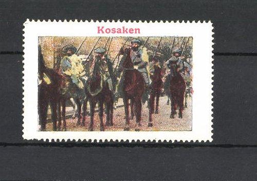 Reklamemarke Strassenansicht mit Kosaken auf ihren Pferden