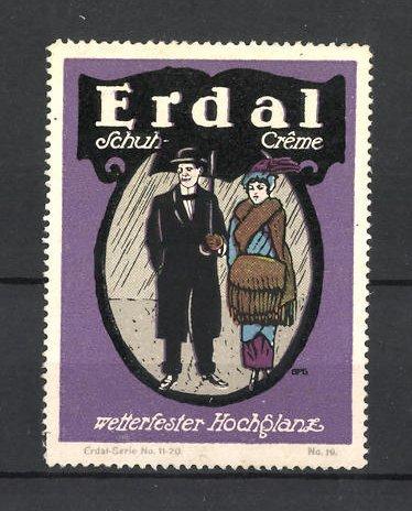Künstler-Reklamemarke Erdal Schuhcreme, wetterfester Hochglanz!, Paar steht im Regen
