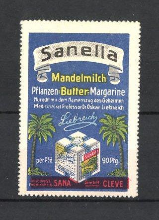 Reklamemarke Sanella Mandelmich-Margarine, Margarinewürfel