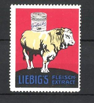 Reklamemarke Liebig's Fleisch-Extract, Rind mit Dose auf dem Rücken