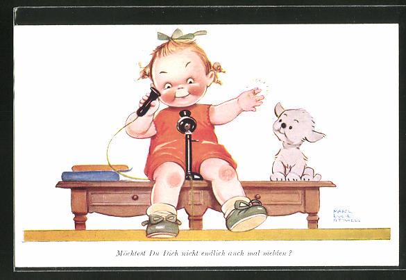 Künstler-AK Mabel Lucie Attwell: Möchtest du dich nicht endlich auch mal melden?, Kind am Telefon