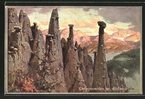 Künstler-AK Rudolf Alfred Höger: Erdpyramiden bei Klobenstein
