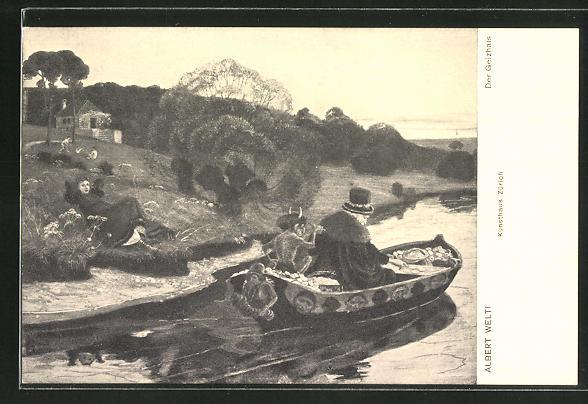 Künstler-AK Albert Welti: Der Geizhals, Alter Mann mit Teufel auf dem Boot