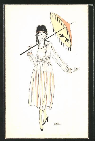 Künstler-AK E. Weber: Mädchen mit Sonnenschirm