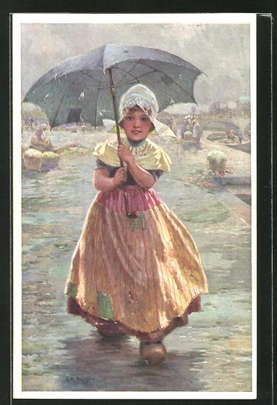 Künstler-AK Rudolf Alfred Höger: niederländisches Mädchen mit Regenschirm