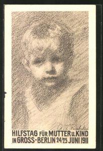 Künstler-AK Berlin, Hilfstag für Mutter und Kind 1911