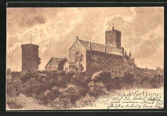 Künstler-AK Carl Jander: Wartburg, Ansicht der Burg