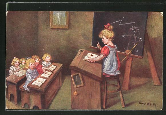 Künstler-AK Elly Frank: Mädchen gibt Unterricht