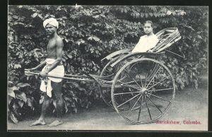 AK Colombo, Jinrickshaw, Indischer Volkstyp mit seiner Rikscha