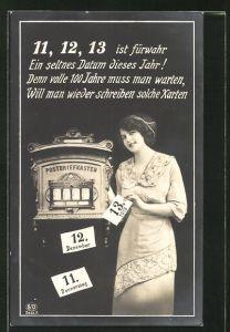 AK Datum 11.12.13, junge Frau am Briefkasten
