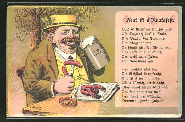 Lithographie Heut ist Ruatafest, korpulenter Herr isst Würste und trinkt Bier