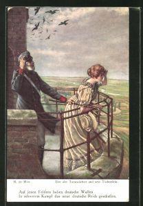 Künstler-AK sign. R. de Witt: Alter Turmwächter und sein Töchterlein
