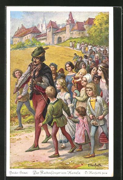 Künstler-AK Oskar Herrfurth: Szene aus Grimm's Märchen