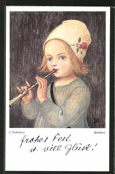 Künstler-AK Josef Bachlechner: Mädchen spielt auf der Flöte