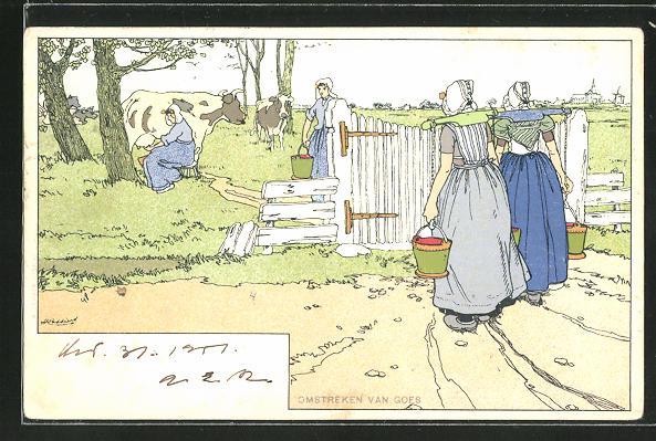 Künstler-Lithographie Henri Cassiers: Omstreken van Goes, Milchfrauen