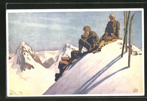 Künstler-AK Otto Barth: Bergsteiger mit Skiern auf Gipfel
