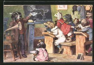 Künstler-AK Arthur Thiele: Sprachlehre, Hundeschule, Grammophon