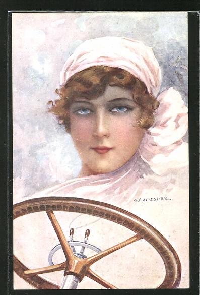 Künstler-AK C. Monestier: Autofahrerin