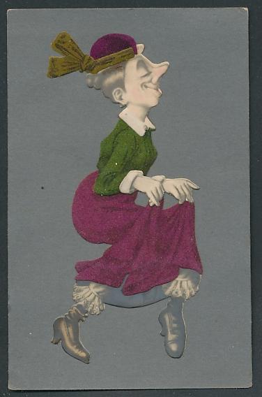 Filz-AK Dame im Kleid aus Filz