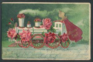 Duft-AK Rosengeschmückte Lokomotive mit Rosenduft