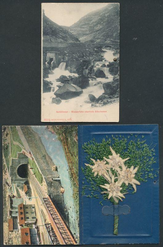 Klapp-Trockenblumen-AK Schöllenen, Wasserfälle oberhalb Göschenen, Eisenbahntunnel, getrocknetes Edelweiss