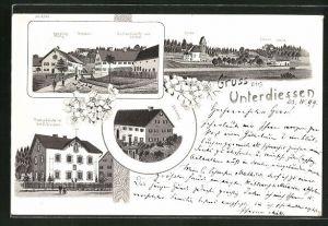 Lithographie Unterdiessen, Panorama, Handlung Blatz, Gasthaus von Schäfer, Post und Pfarrhof