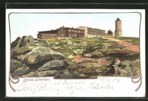 Lithographie Brocken, Blick zum Brockenhaus
