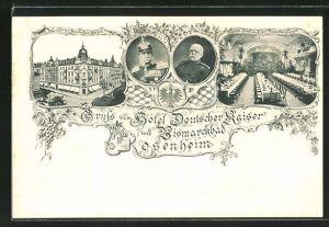 AK Rosenheim, Innen- und Aussenansicht vom Hotel Deutscher Kaiser u. Bismarckbad, Portrait Kaiser Wilhelm I. und Bismarck