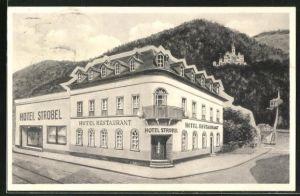 AK Niederlahnstein a. Rhein, Hotel Strobel in der Bahnhofstrasse 2