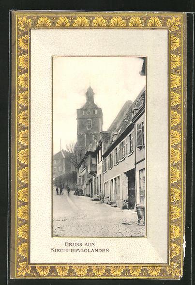 Präge-Passepartout-AK Kirchheimbolanden, Ortspartie mit Häusern und Blick nach der Kirche