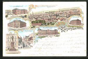 Lithographie Kaiserslautern, Totalansicht, Hauptbahnhof, Neue Post, Gymnasium, Marktstrasse
