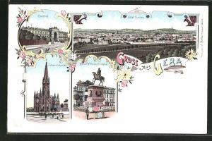 Lithographie Gera, Totalansicht, Bahnhof, Kaiser Wilhelm Denkmal, Johanniskirche