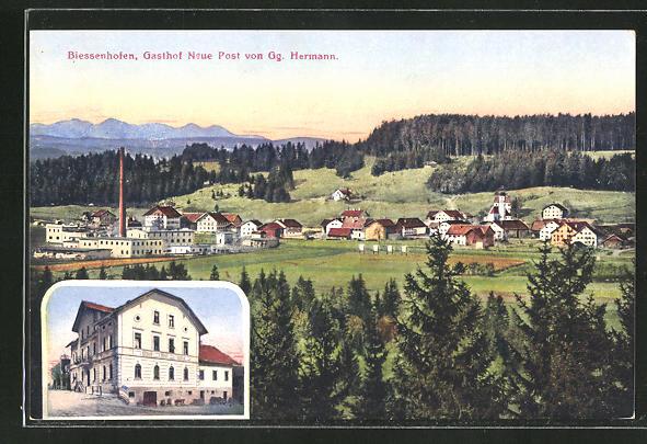 AK Biessenhofen, Gasthaus Neue Post, Totalansicht