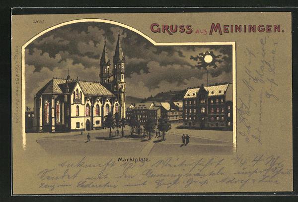 Mondschein-Lithographie Meiningen, Blick über den Marktplatz