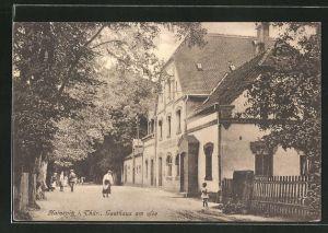 AK Hainspitz i. Thür., Strassenpartie mit Gasthaus am See