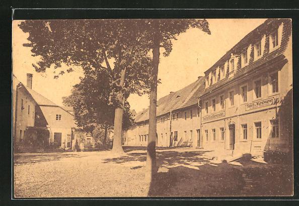 AK Bärenstein, Strassenpartie mit Gasthof Stadt Bärenstein u. Fleischerei