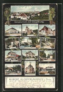 AK Klosterlausnitz i. Thür., Sanatorium, Friedrichshof, Bahnhof, Weinschenke