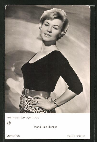 AK Schauspielerin Ingrid van Bergen im Kostüm einer Filmrolle