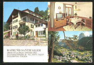 AK St. Ulrich, - Ortisei, Hotel Haus Raimund Santifaller von Fam. Berger, VW Käfer