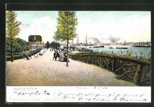 AK Rotterdam, Parkheuvel, Strassenpartie in Hafennähe